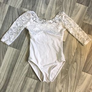 White Lace Leotard Child Large, Audition Dancewear